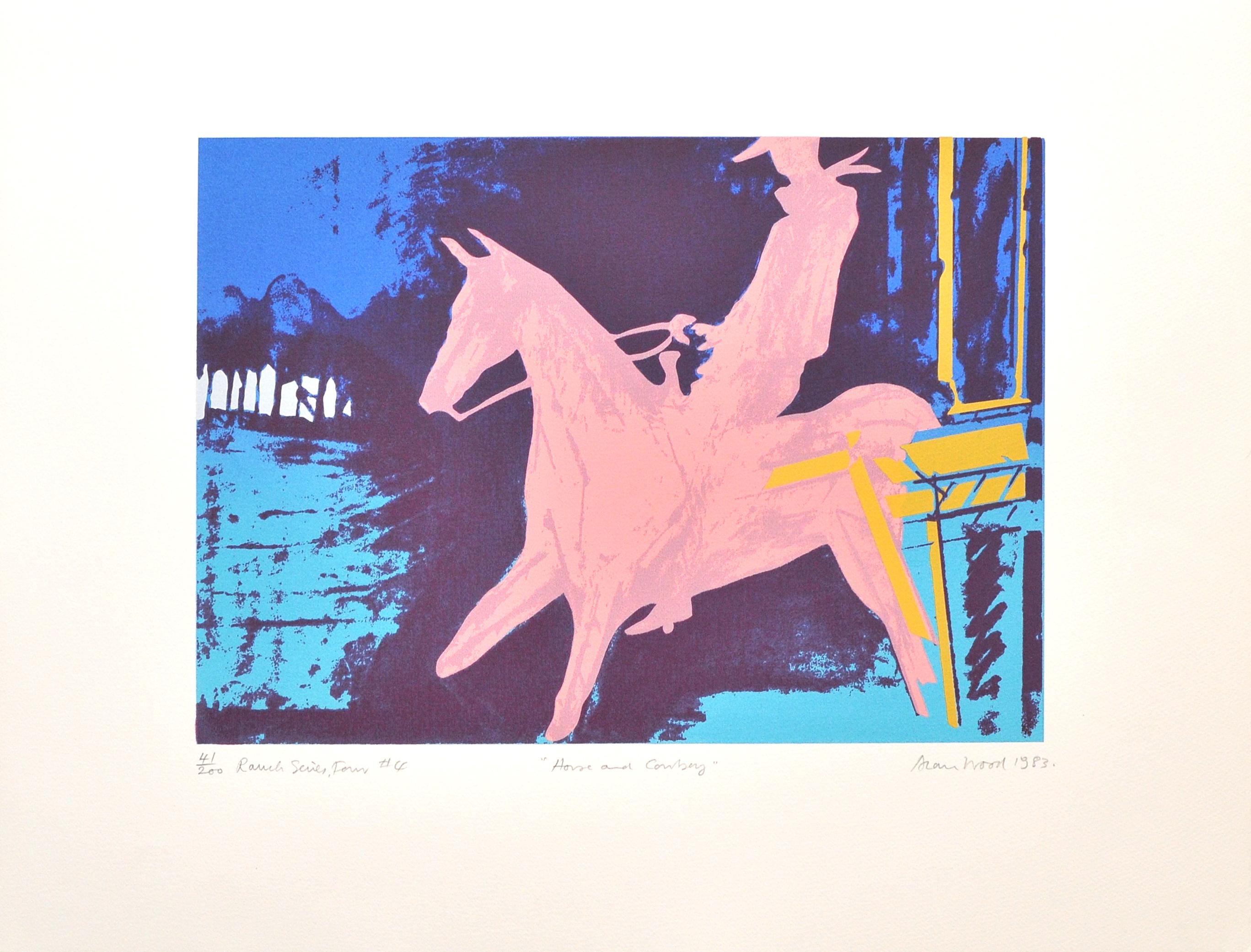 Alan_Woods_1983_Prints_#41_RanchSeriesFour#4_HorseandCowboy